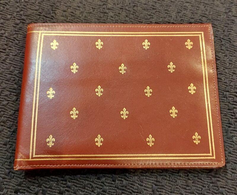 L. Mannelli Vintage Leather Mens Wallet Gold Embossed Fleur-de-lis Never Used...