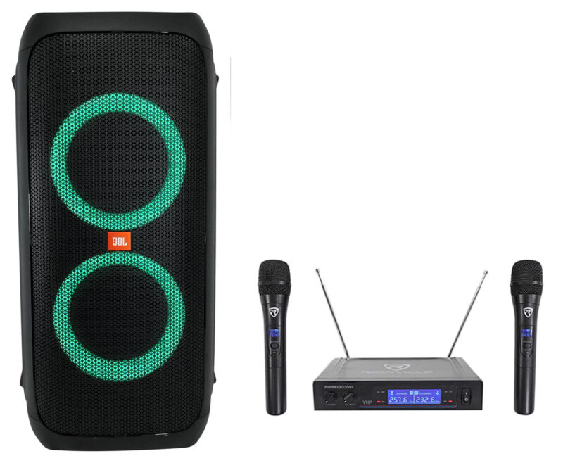 JBL Partybox 310 Rechargeable Bluetooth LED Tailgate Party Speaker w/(2) Mics