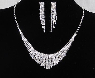 Bridal Silver W. Clear Rhinestone Crystal Drop Necklace And Earrings Set