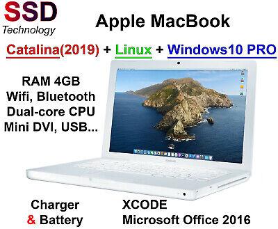 Macbook SSD Ram 4GB pre-RETINA (Catalina, Windows10 Pro, Linux..) + Office 2016