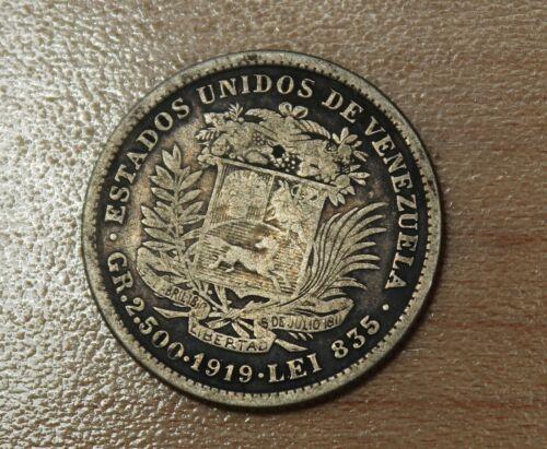 1919 Venezuela 1/2 Bolivar Silver