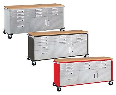 11 Drawer Tool Storage Chest Cabinet Wood Top Workbench Mobile Rolling 2 Door Chest Wood Top