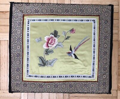 Embroidered Picture - Bird Flying Over Rose - Very Old - Unframed - Mounted