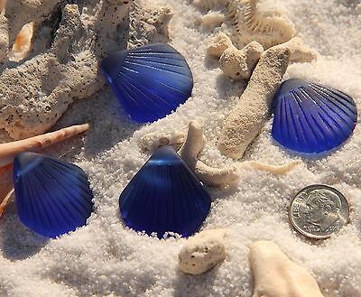 Large Shell Pendant Beads, Royal Blue w/Sea Glass Finish, 29x27mm, 2 Pcs.