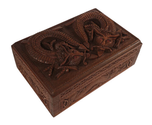 VINTAGE INTRICATELY CARVED WOOD JEWELRY BOX DRAGONS RED EYES SLIDING LOCK INDIA