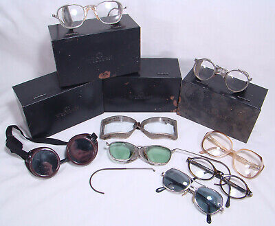 Vintage Wilson Safety Goggles + Boxes w/ Motorcycle Glasses Mixed Lot Steampunk