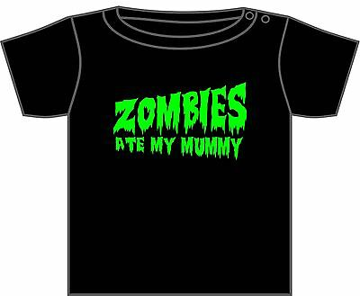 WALKING DEAD ZOMBIE T-SHIRT ZOMBIES ATE MY MUMMY ASST DESIGNS 0-6 YEARS NEW ()
