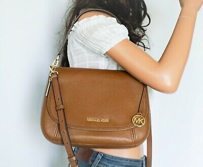 Michael Kors Bedford Medium Convertible Flap Shoulder Leather Bag Brown Luggage