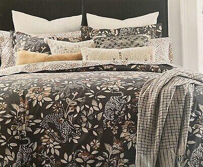 Dwell Studio Home Melisande Grey King Duvet Comforter Cover Tiger Leopard