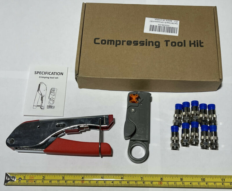 Compression Connector Cable Tool Kit F-Type For RG58 RG59 RG6