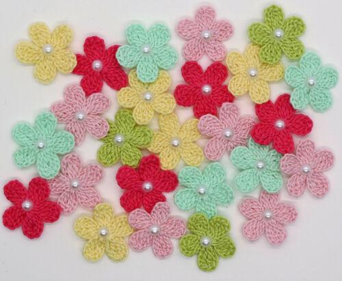 Crochet Summer Small Flowers Flower Mix Applique Embellishment 15 Pcs
