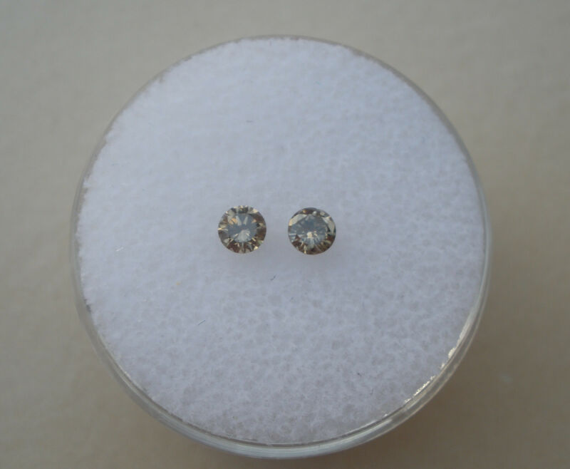 Champagne Natural Diamond Round Loose Faceted Pair 3mm each