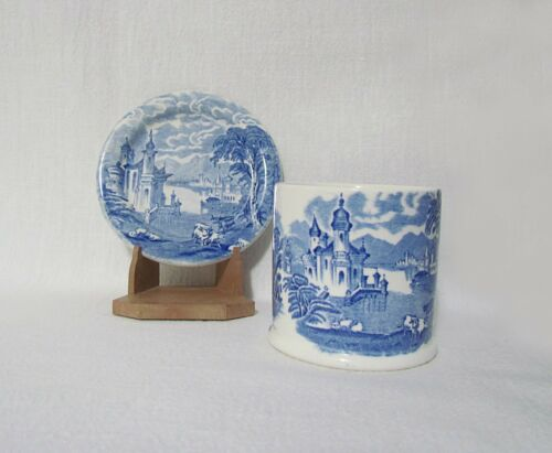 Maling Pottery Newcastle-on-Tyne Blue Willow Handleless Cup & Saucer Plate