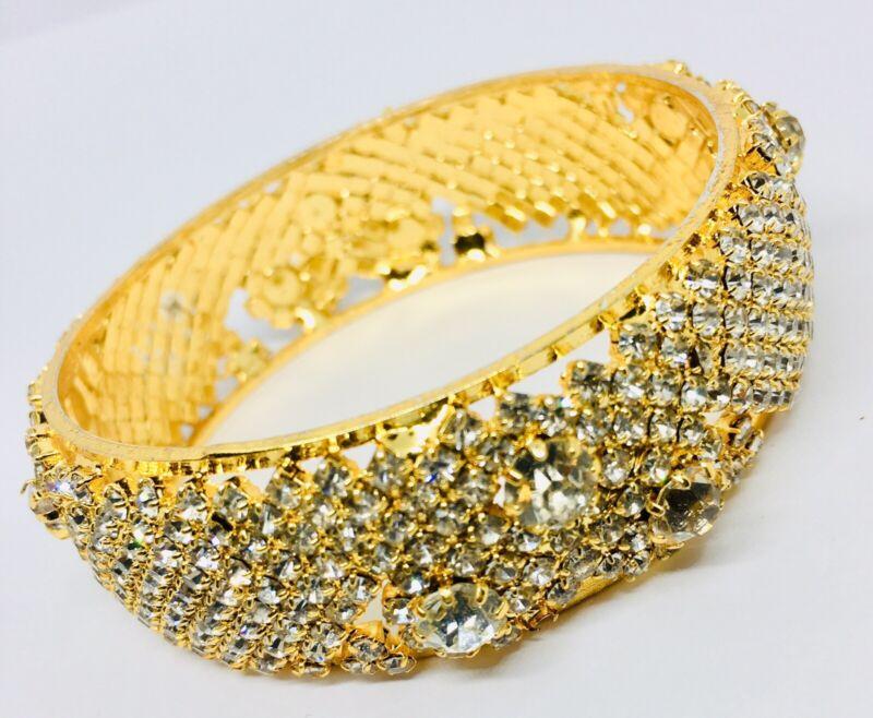 Sparkling Wide Rhinestone Encrusted Bangle Bracelet Prong Set Vintage Jewelry