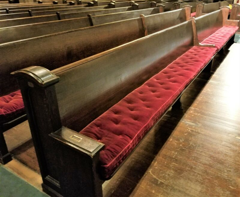 Church Pews 20 feet long - solid oak, 100 years old - only 6 pews for sale