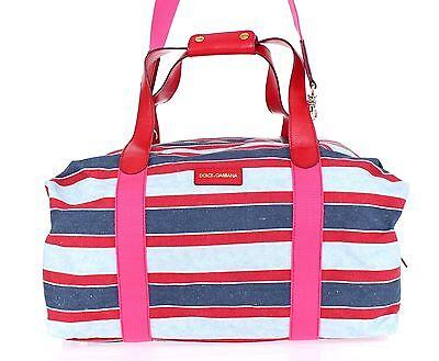 e447c3fc0c38 NEW $1300 DOLCE & GABBANA Bag Blue Red Linen Leather Travel Gym Hand  Shoulder фото