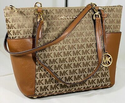Michael Kors Jet Set E/W  Carryall Tote Beige Brown Leather  MK Signature  Bag