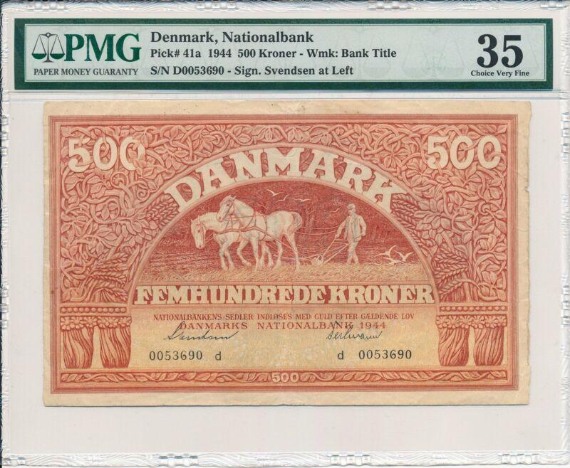Nationalbank Denmark  500 Kroner 1944 Rare PMG  35