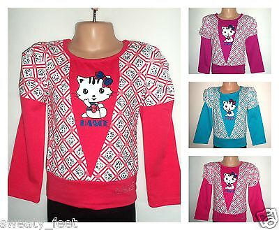 NEW GIRLS CLOTHES LONG SLEEVE KITTY DANCE TOP T-SHIRT 3-4-5-6-7-8-9-10 YEARS