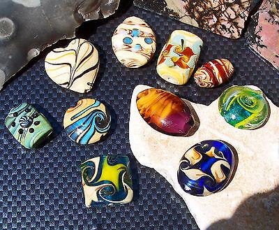 mpwork Glasperlen gemustert 19 - 26 mm baige blau handmade (Große Glas-perlen)