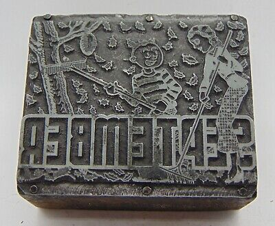 Vintage Printing Letterpress Printers Block September Raking Leaves