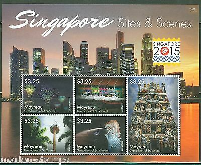 MAYREAU 2015 SITES SCENES SINGAPORE SHT CONJUNCTION WITH SINGAPORE 2015 MINT NH