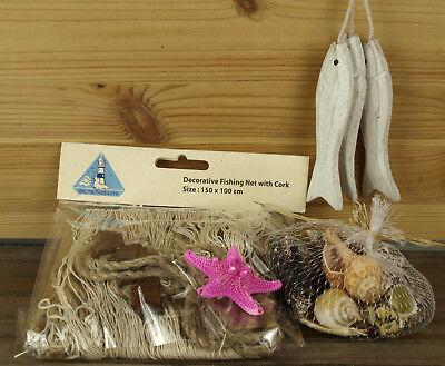 Seestern Pink (Deko Fischernetz 1x1,5m + 3 Fische am Band, 1 Seestern (pink) & Muschelnetz )