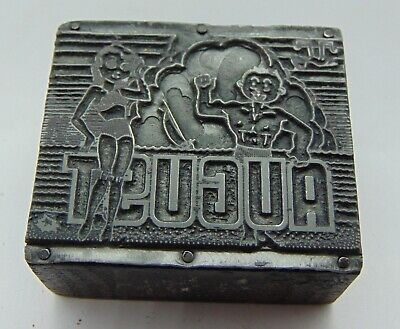 Vintage Printing Letterpress Printers Block August People In Swimsuits
