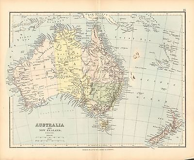 1887 ANTIQUE MAP- AUSTRALIA AND NEW ZEALAND