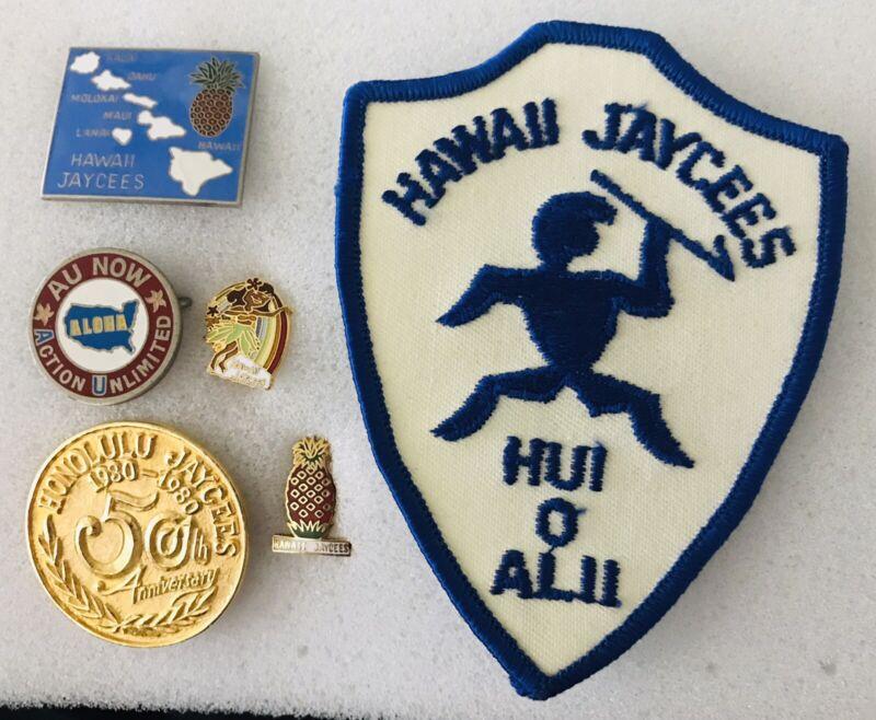Hawaii Jaycees Lot Of 5 Pins Plus Patch. Honolulu 50th Anniv. Hula Girl O/L Plus