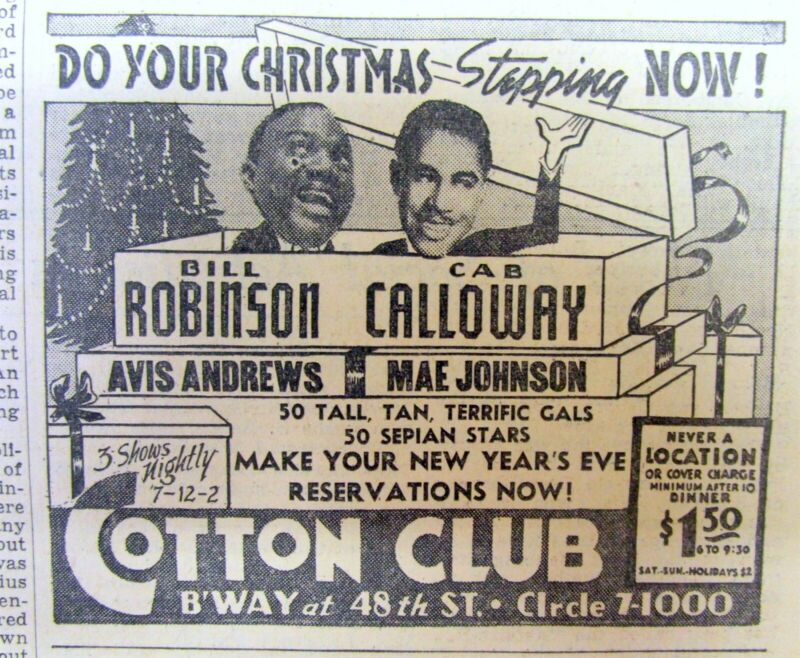 1937 NY Times w illustrated ad THE COTTON CLUB Harlem CAB CALLOWAY Bill Robinson