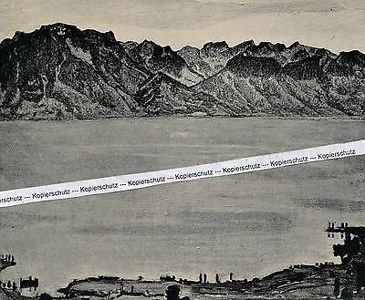 Ferdinand Hodler : Landschaft - früher wertiger Kunstdruck um 1925 - RAR  K 2-11