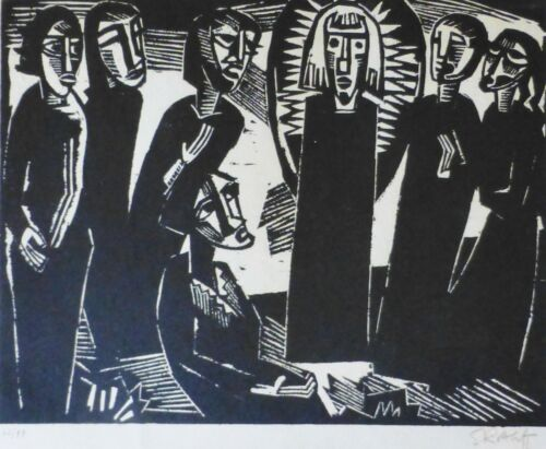 "Karl Schmidt-rottluff ""christ Among Woman"" 1919/1974 Woodcut Hand Signed German"