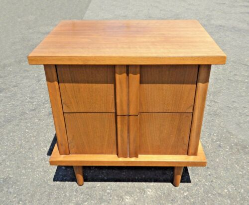 Vintage Mid Century Solid Wood Two Drawer Nightstand by American of Martinsville