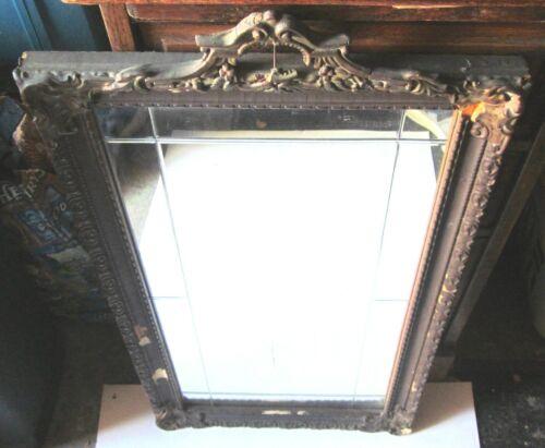 "Antique Art Deco Etched Mirror Gold Gilt Gesso~15"" x 29"" Frame ~12"" x 24"" mirror"