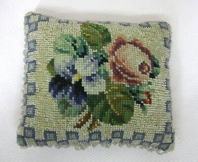 Antique Needlepoint & Glass Beaded PIllow Pincushion Pink Rose Purple Pansy SHP