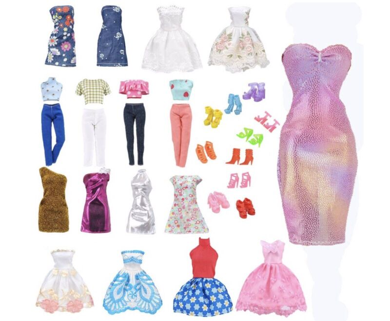 Lot of Barbie Doll Outfits Clothes 5 Sets / 10 Shoe Pairs