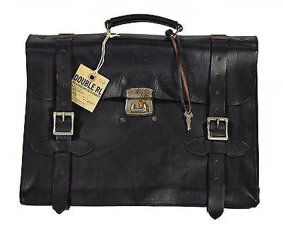 Ralph Lauren RRL Distressed Black Leather Executive Attache Briefcase Bag New