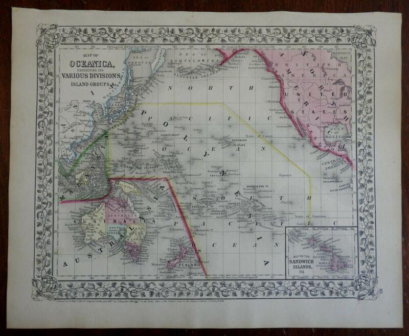 Oceania Australia New Zealand Indonesia Polynesia Hawaii 1867-9 Mitchell map