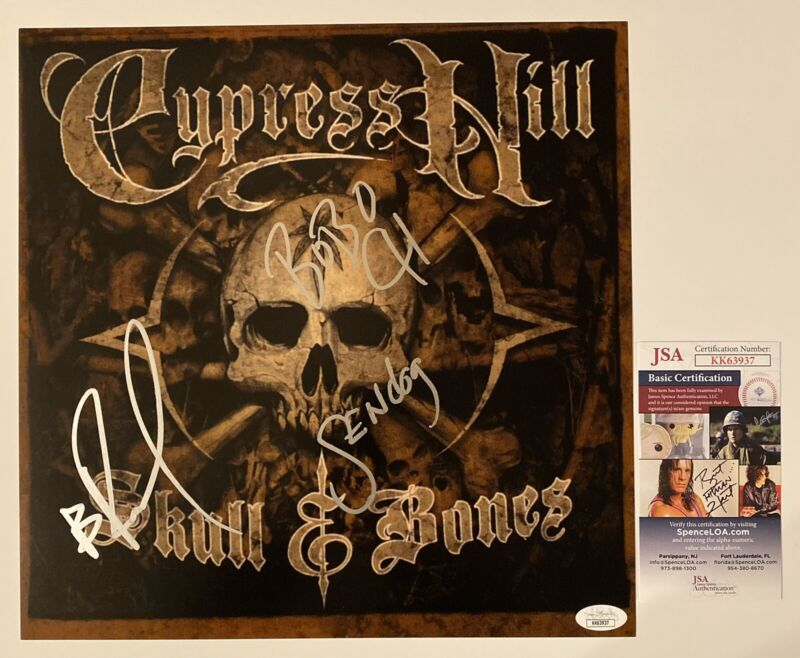 Cypress Hill Signed Skull And Bones 12x12 Photo B-Real Sen Dog Eric Bobo JSA COA