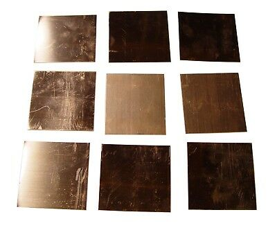 New Copper Sheet - Nine 3 X 3 Pieces - Metal Working - 16 Oz 24 Gauge Crafts
