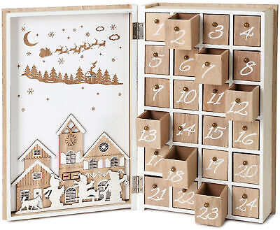 BRUBAKER Advent Calendar Wooden Christmas Book with 24 drawers - White ()