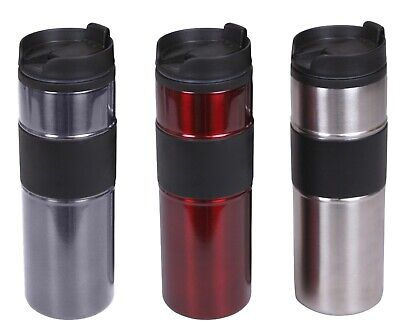 Home Basics NEW 15oz Stainless Steel Grip Travel Coffee Mug Silver Red - VF00596