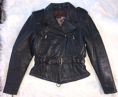 Flying Bikes Womens Size Small Leather Jacket, Fitted Waist, Tie Back, Red Insid Back Womens Leather Jacket