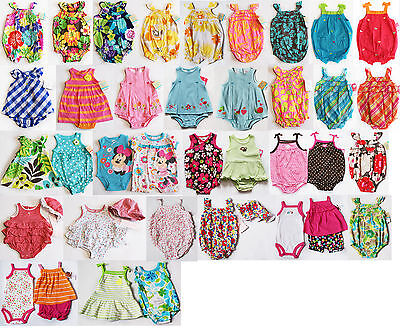 NWT Girls Sunsuit Romper Carters NEW Set Hat Summer Outfit NB 3m 6m 9m 12m