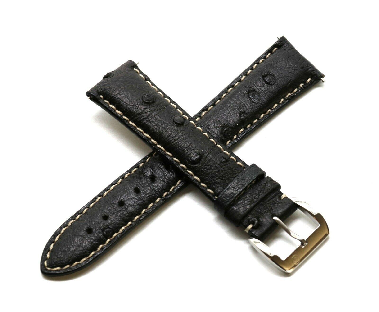 Rotary 21 mm Echte Straußenleder Uhrenarmband Schwarz helle Naht Edelstahl Verschluss