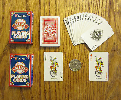 2 NEW DECKS OF MINI PLAYING CARDS MINITURE PLASTIC COATED TINY POKER CARD -
