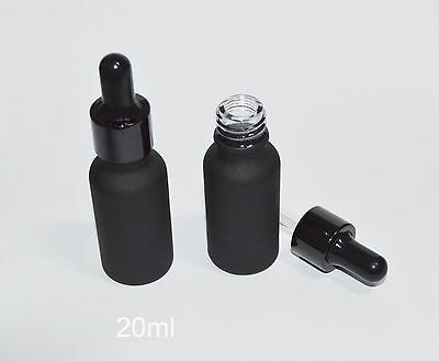 20ml 5pcs Black Frosted Glass Dropper Bottle To Store Essential Oil