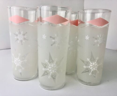 Vintage Anchor Hocking Frosted Pink Snowflake Drinking Glasses 1960