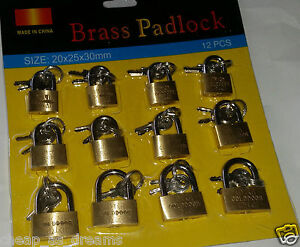 NEW 12 x BRASS PADLOCK 20,25,30mm Small/Mini/Tiny Tool/Locker Security Lock